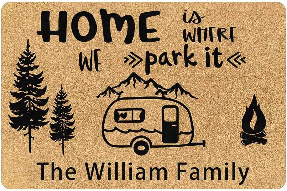 Artsadd Custom Camping Camper Doormat Personalized Door mat,Home is Where We Park It RV and Mountain, 24 x 16 Inches Indoor Outdoor Welcome Rug Decor for Garden Kitchen Bedroom