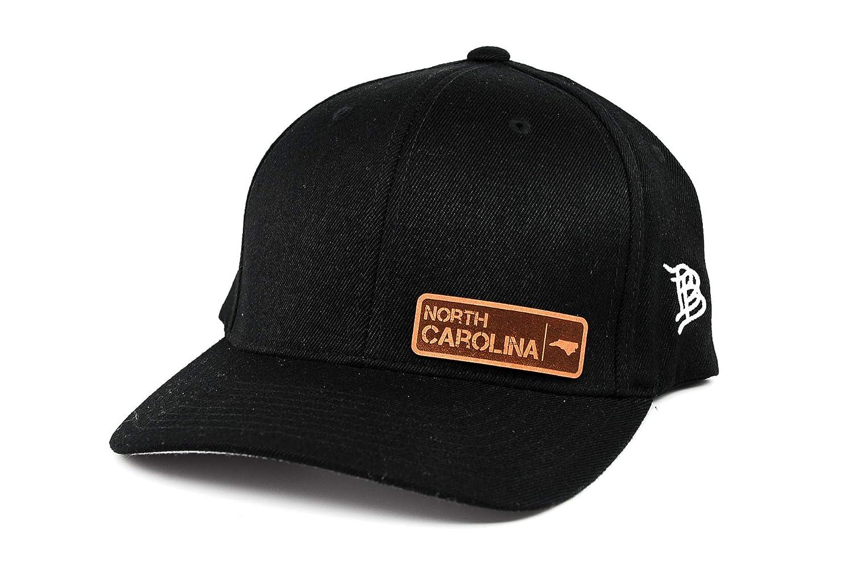 Branded Bills /'North Carolina Native Leather Patch Hat Flex Fit SM//MD//Black