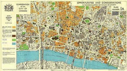 Map Of The City Of London.Amazon Com City Of London 1943 Survey Post War Redevelopment