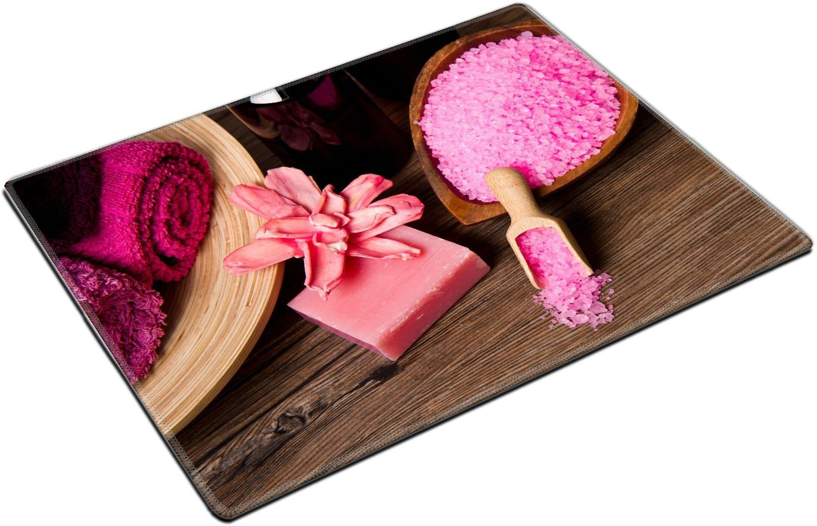 MSD Placemat Non-Slip Natural Rubber Desk Pads Place-mats Design 23908738 Pink Spa Tools with Candle AMD Towel on Wood