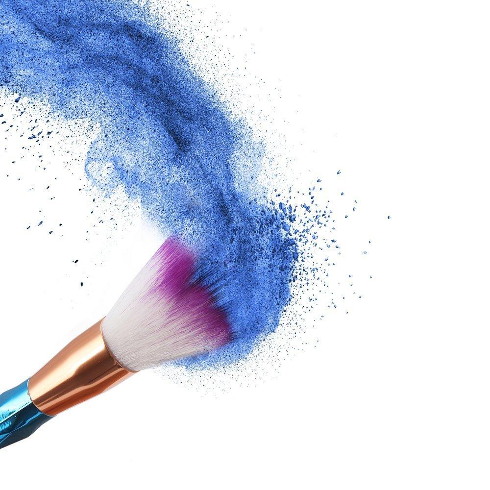 ASEL 12 Piezas/Set Brochas de Maquillaje para fundación ceja delineador de ojos Blush Corrector Cosmético Con 2 pcs silicona esponja de maquillaje y bolsa: ...