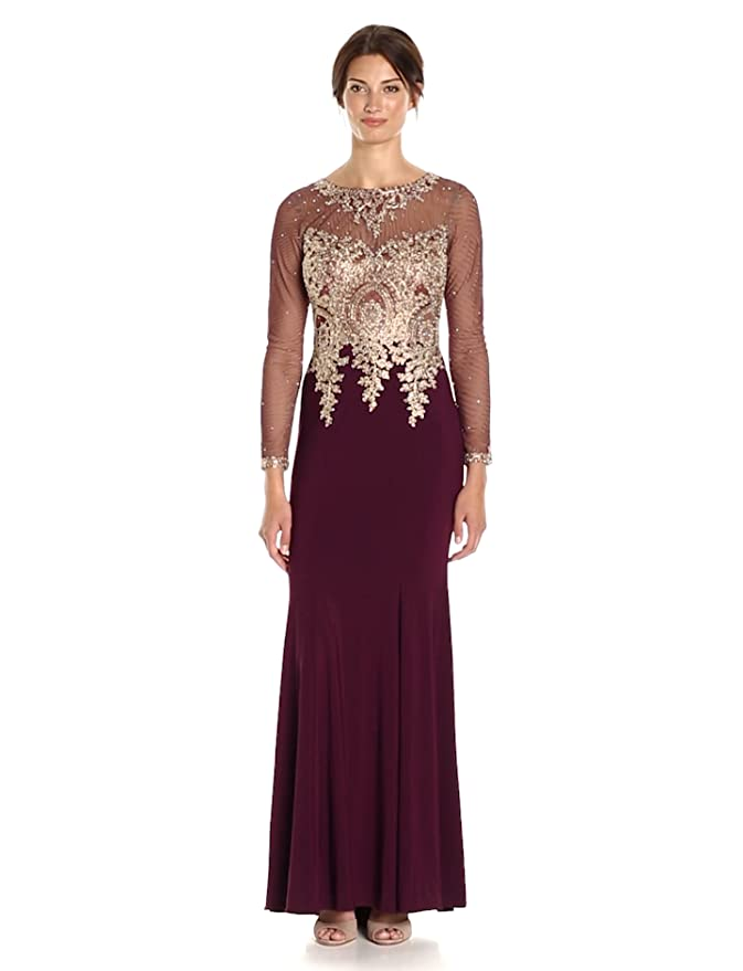 961e879b Xscape Women's Long Gown with Emb/Bead Top and Illusion Sleeves at Amazon  Women's Clothing store: