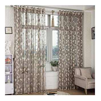 Gold Leaf Sheer CurtainsModern Tulle Window Treatment Voile Drape Valance Curtains For Dining Room