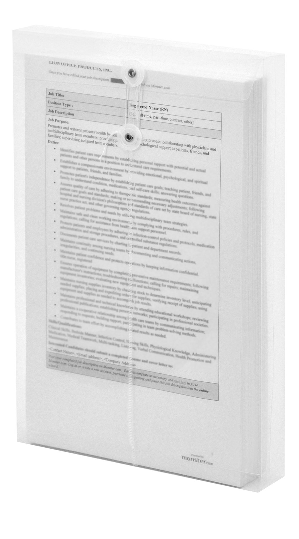 Lion String-A-Long Clear Poly Envelopes with Gusset, Legal, Top Load, 6 EA/Pack, 1 Pack (32500-CR)