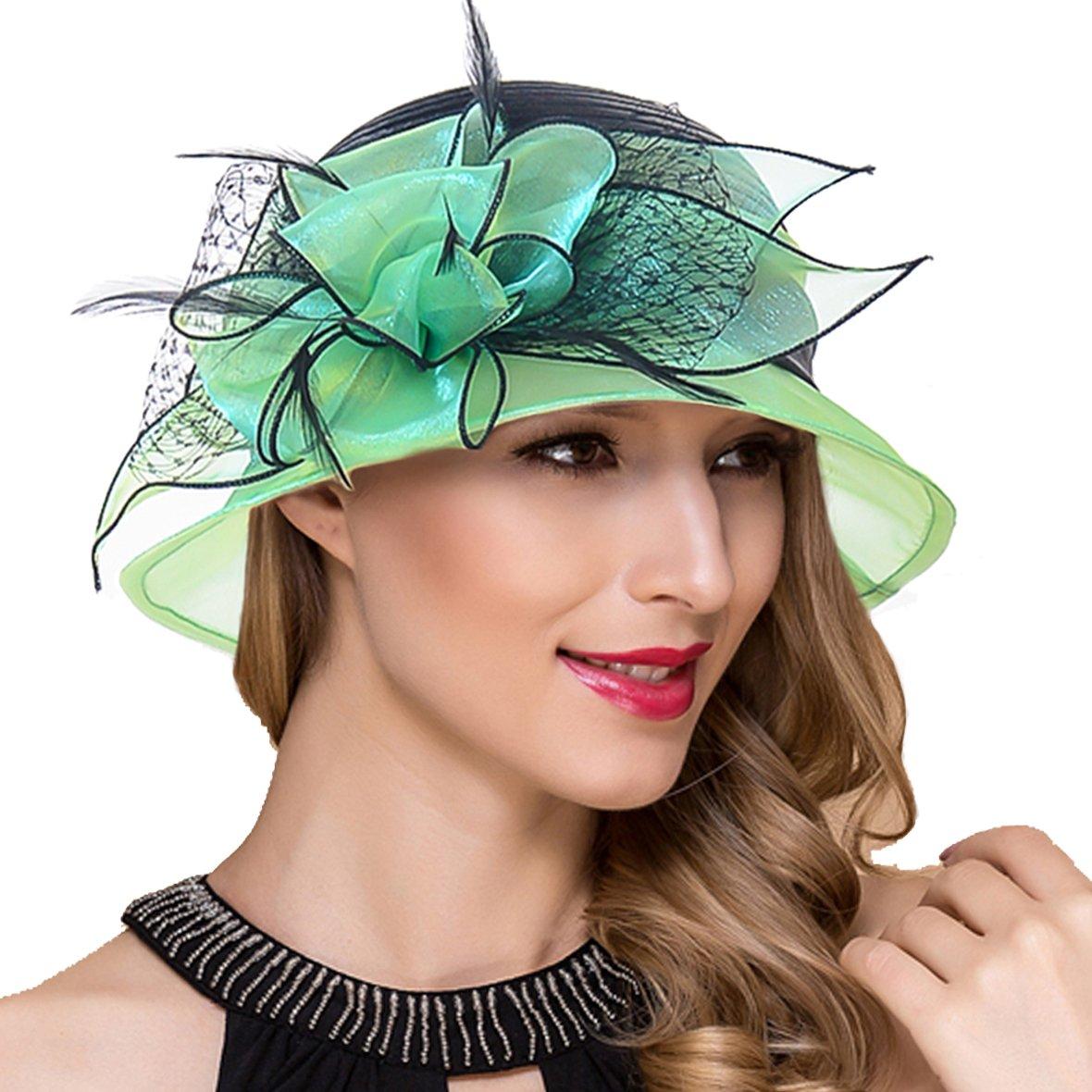Lady Church Derby Dress Cloche Hat Fascinator Floral Tea Party Wedding Bucket Hat S051 (S606-Green)