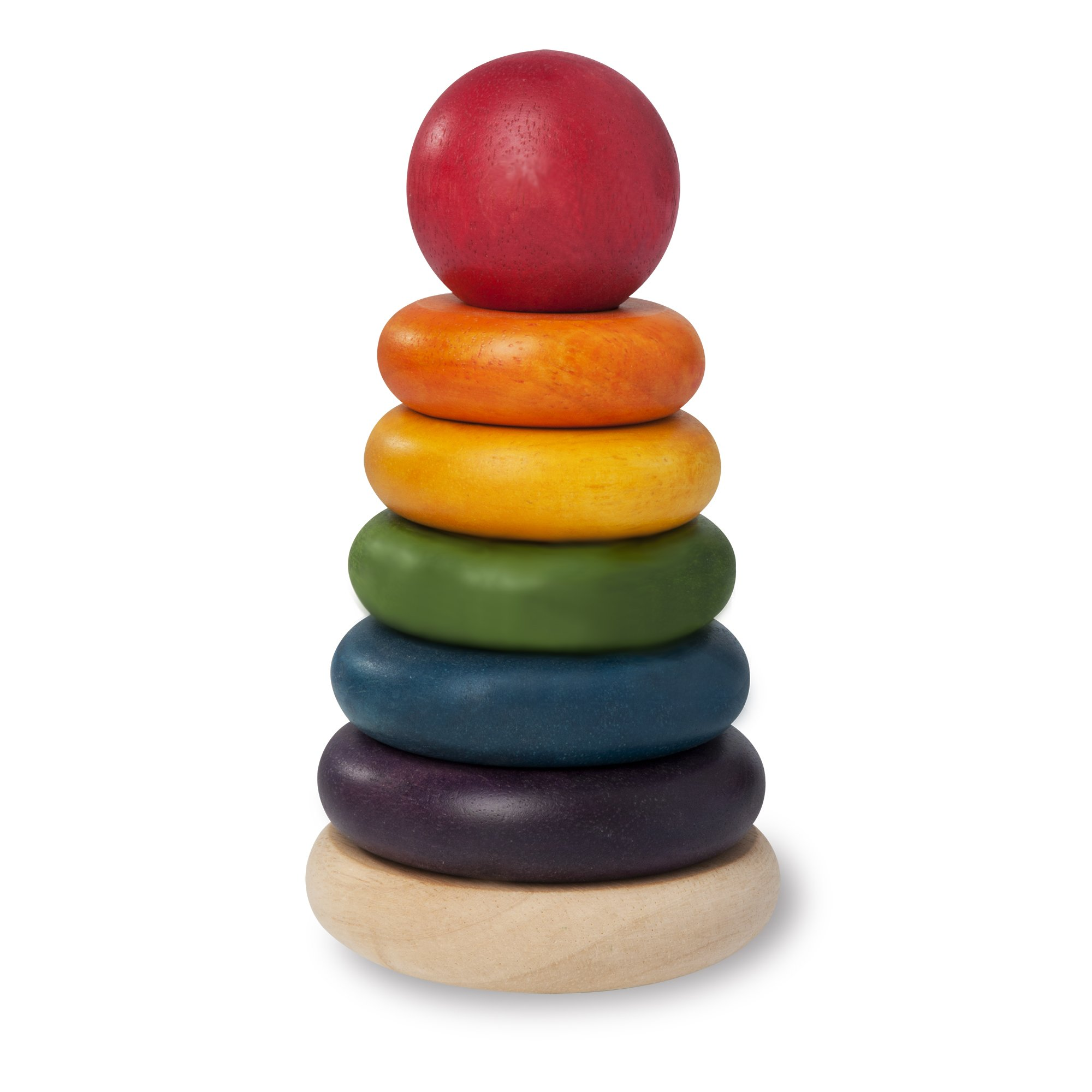 Wonderworld Natural Stacking Rings Baby Toy - Multi-Colored 6 Rings Non-Toxic For Safety