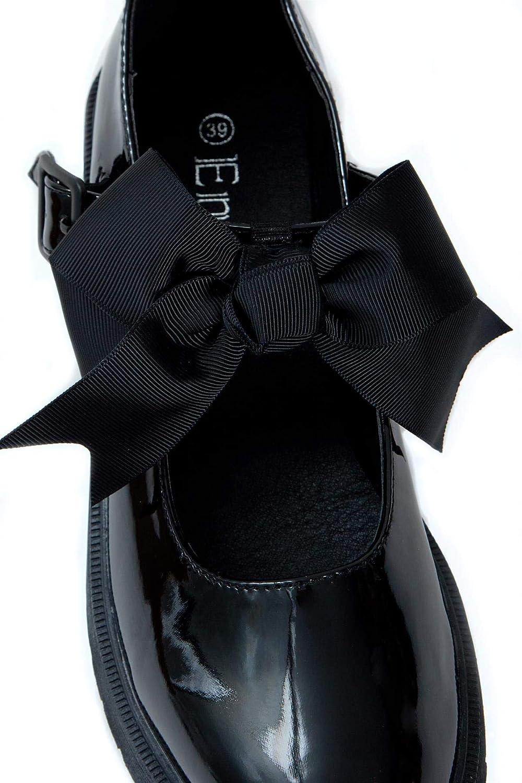 shelikes Girls Back to School Bow Black Patent Shiny Ankle Strap Mary Jane Flat Shoes