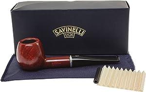 Savinelli Italian Tobacco Smoking Pipes, Arcobaleno Smooth Red 207