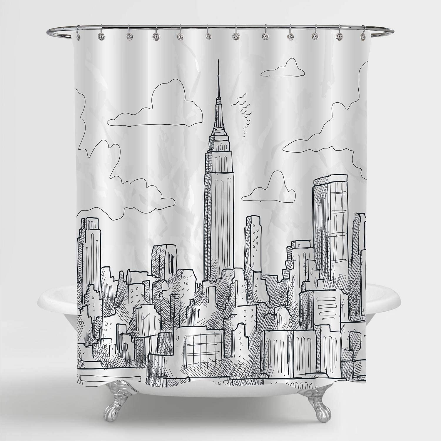 Amazon Com Mitovilla Nyc Skyline Shower Curtain Set Sketchy New York Landmark Empire State Building And Skyscrapers Skyline Scenic Artwork For Modern Bathroom Decor Black And White 72 W X 72 L Standard