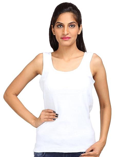 91e1b7c8d31385 ALBATROZ Cotton U Neck Ladies Plain Spaghetti Tank Top Vest Camisole Sando  for Women White (Free Size)  Amazon.in  Clothing   Accessories