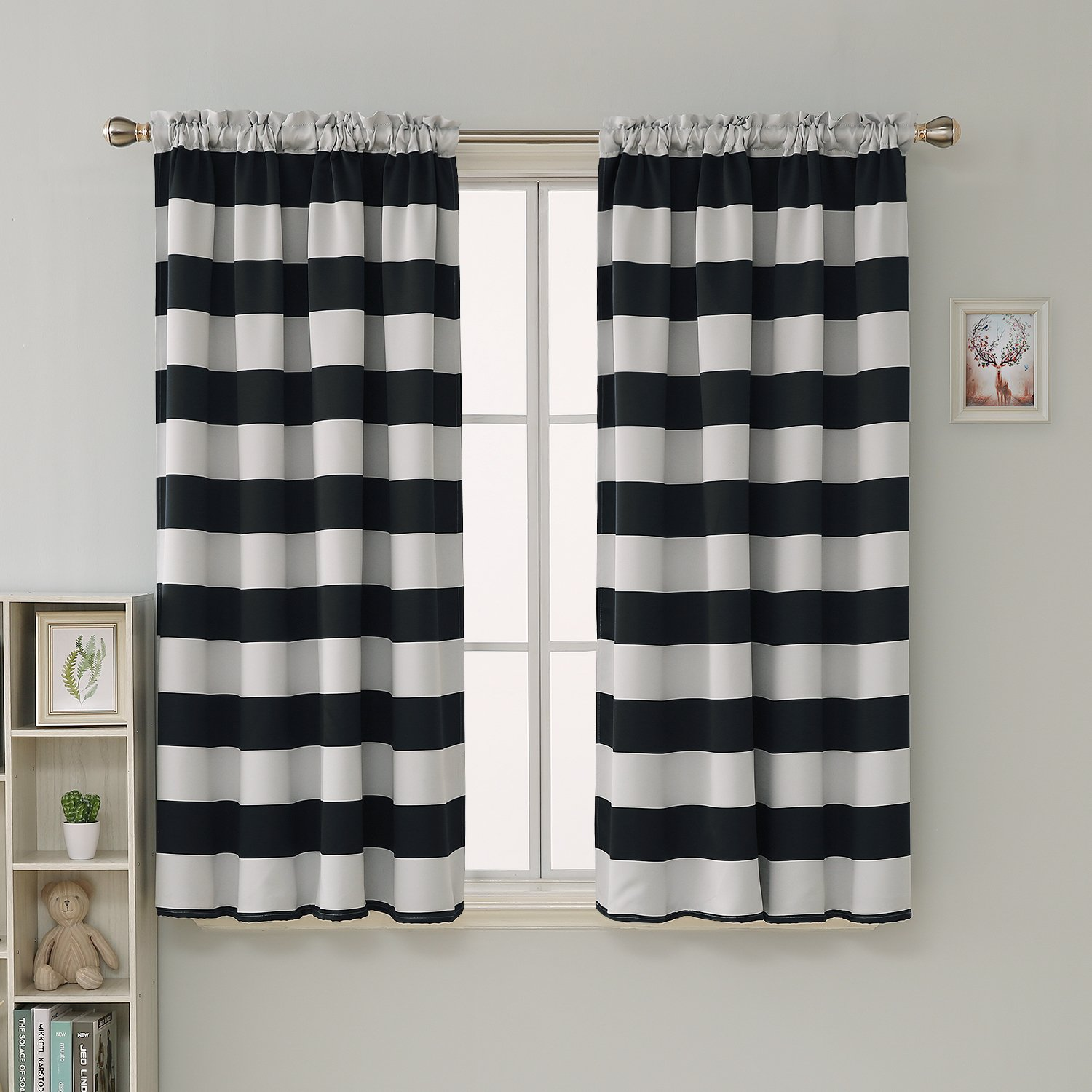 Amazon com deconovo striped blackout curtains rod pocket black and greyish white striped curtains for living room 52w x 63l black 2 panel curtains home