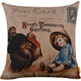 """LINKWELL 18""""x18"""" Vintage Thanksgiving Day Burlap Cushion Covers Pillow Case (CC861)"""
