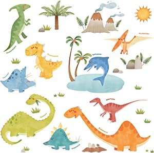 DECOWALL DW-1505 Dinosaurs Kids Wall Stickers Wall Decals Peel and Stick Removable Wall Stickers for Kids Nursery Bedroom Living Room décor
