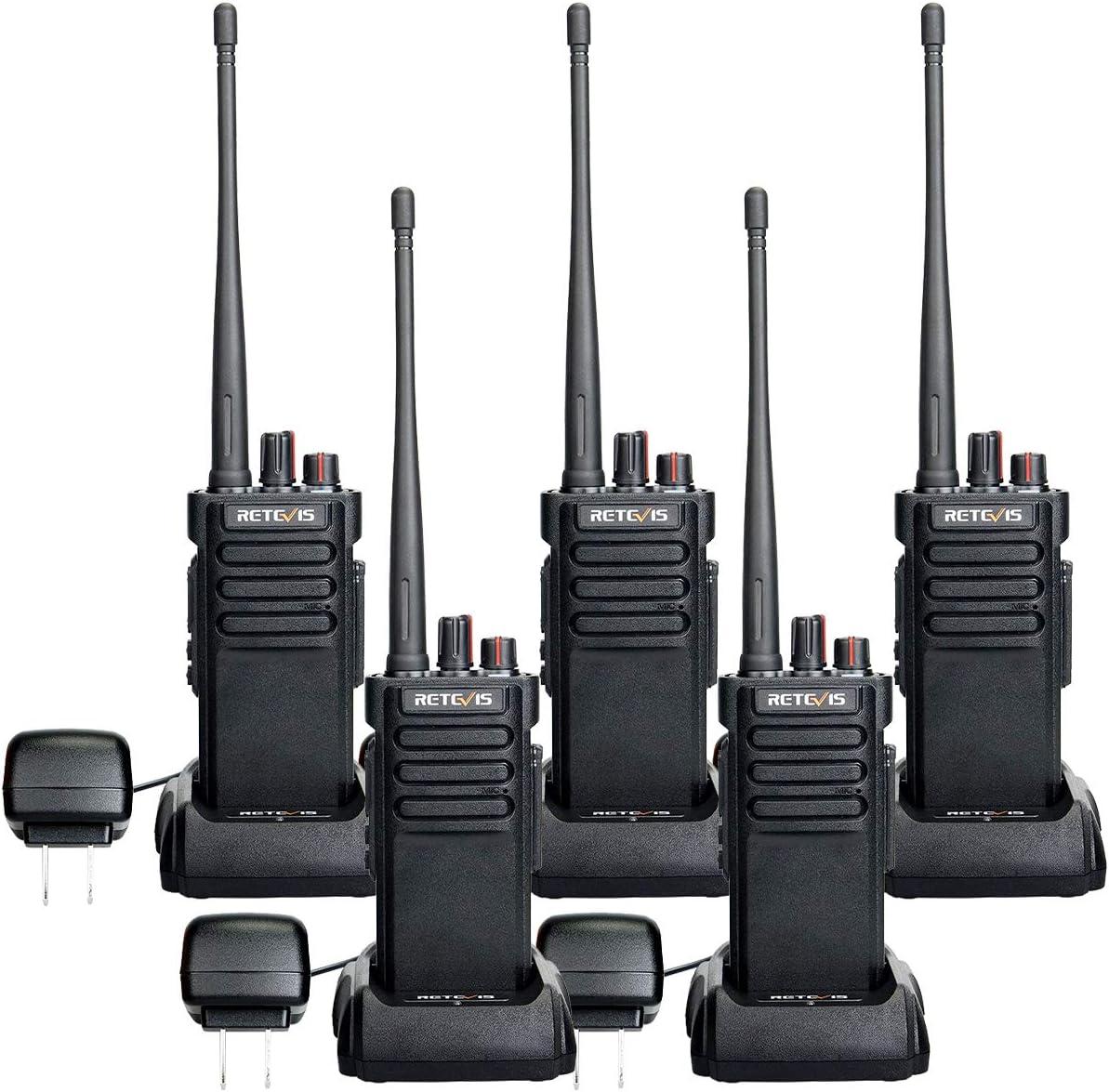 Retevis RT29 Two-Way Radios Long Range Rechargeable 3200mAh Waterproof UHF Heavy Duty High Power Walkie Talkies Long Distance 5 Pack