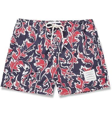 5eba2ed8026e7 Thom Browne Short-Length Leaf-Print Swim Shorts: Amazon.co.uk: Clothing