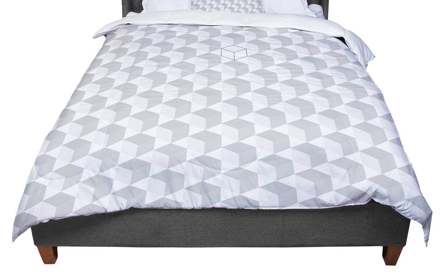88 X 88 KESS InHouse KESS Original Greyscale Cubed  White Geometric Queen Comforter