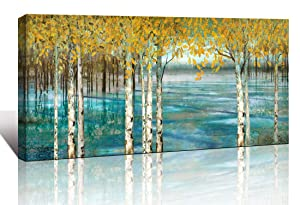 Large Living Room Wall Decor Abstract Canvas Wall Art Yellow Trees White Birch Green Lake Landscape Painting Picture Giclee Print Framed Artwork Modern Home Bedroom Wall Decoration Ready to Hang 24x48