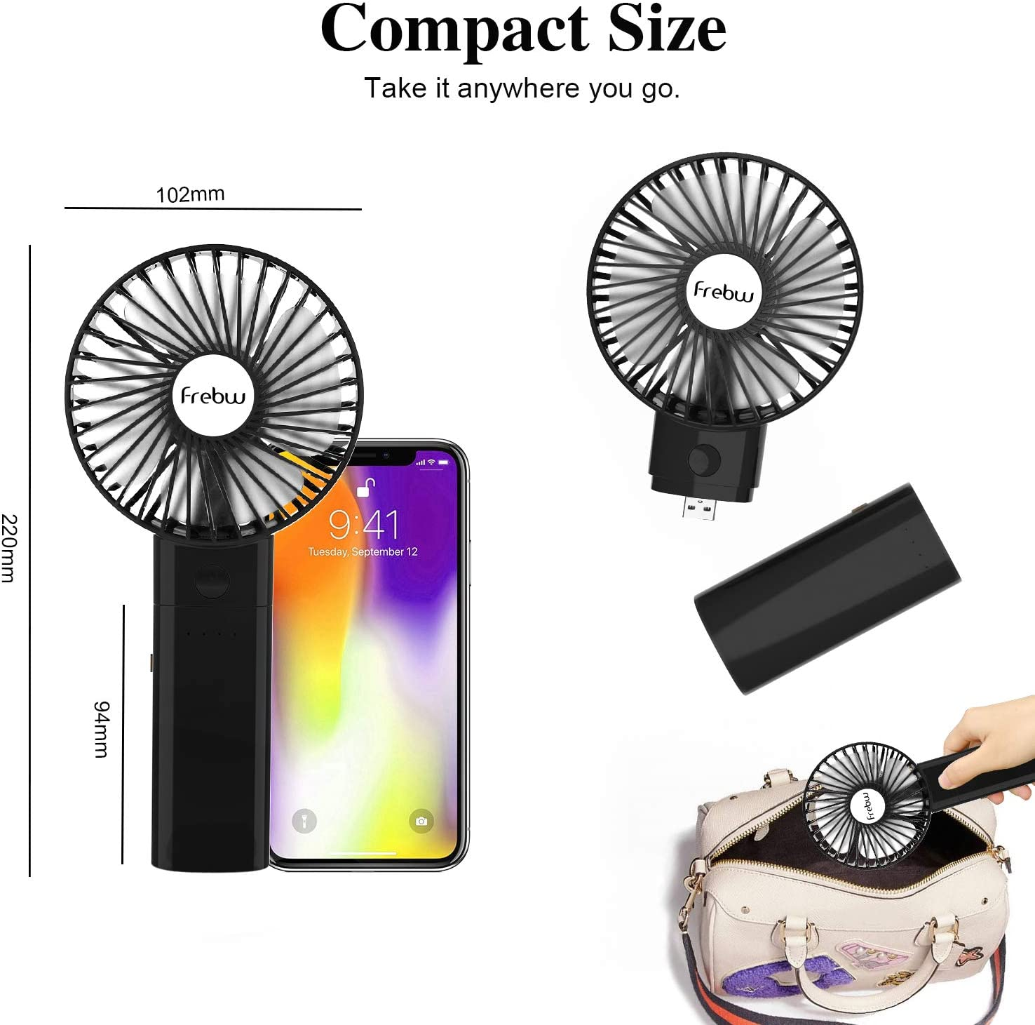 3 Setting Strong Wind Portable Handheld Fan with 8 Hours Working ...
