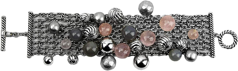 Amazon Com David Yurman Elements Cluster Semiprecious Smokey Rose Silver Bracelet 141 Jewelry