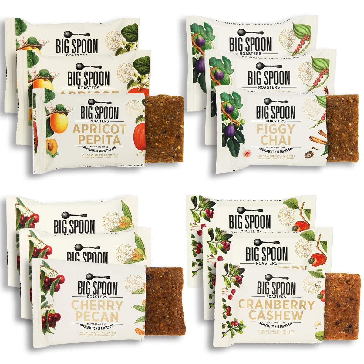 Big Spoon Roasters Nut Butter Bars Variety Pack - Cherry Pecan, Apricot Pepita, Cranberry Cashew & Figgy Chai - High Protein Bars Variety Pack with Non-GMO Pea Protein - 12-Count (3 of Each Flavor)
