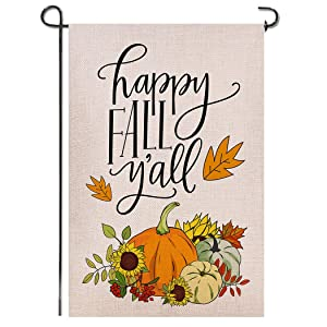 Shmbada Happy Fall Y'all Welcome Double Sided Burlap Garden Flag, Sunflowers Pumpkins Autumn Maple Leaves Seasonal Thanksgiving Outdoor Small Decorative Flags for Home Yard Lawn, 12.5 X 18.5 Inch