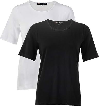 Women's T-Shirts 3X-Large Plus Size (Size 26-28) 2-Pack Black ...