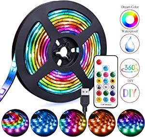 LED Strip Lights USB Powered 6.56ft Waterproof RGB Dmeixs LED TV Backlight with RF Remote Control Multicolor Chasing Flexible LED Lights Rainbow Light Strip Kit for Indoor Outdoor Decoration