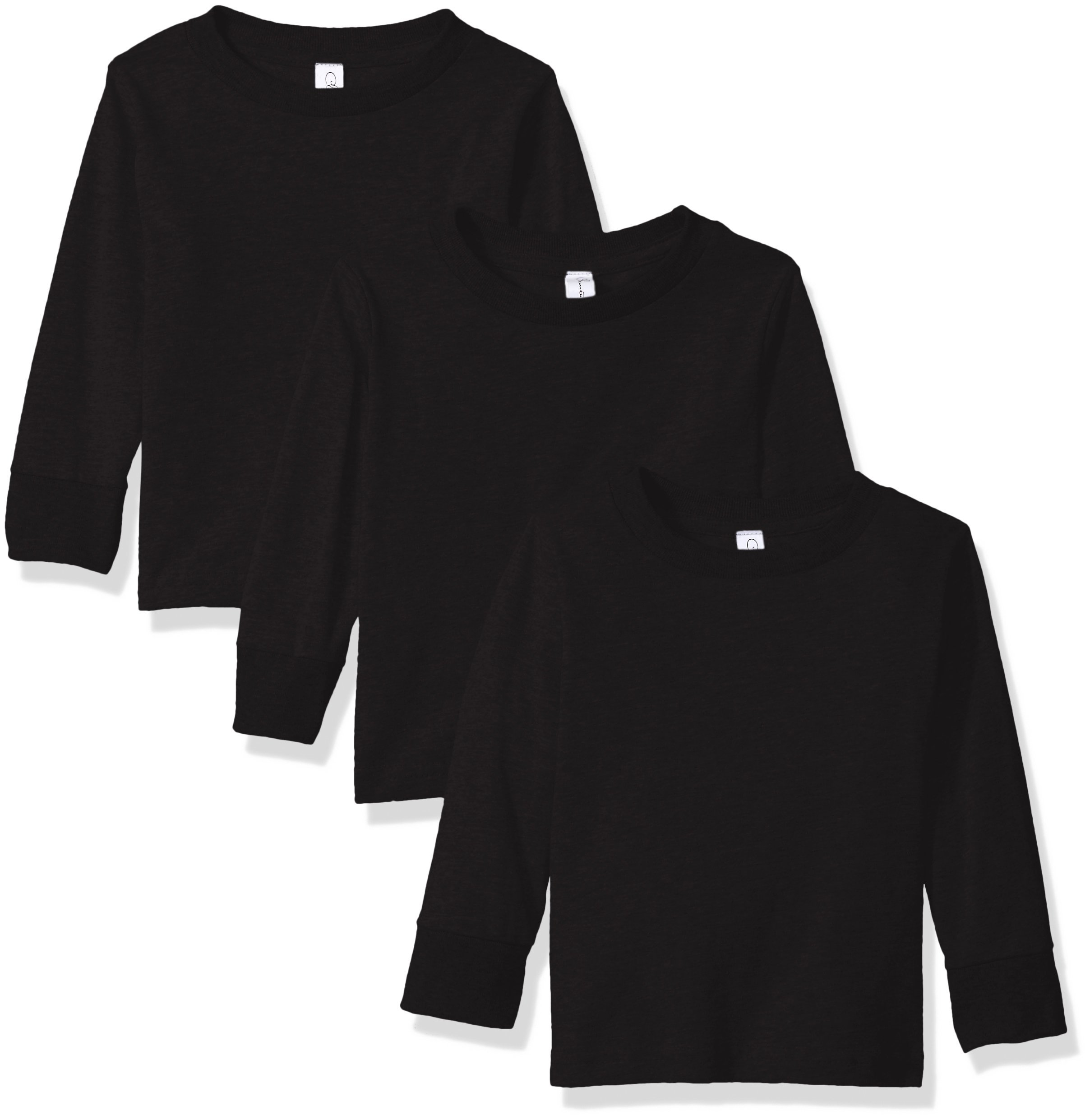 Clementine Apparel Baby Little Girls' Long Sleeve Basic Tee 3pack, Black, 2T