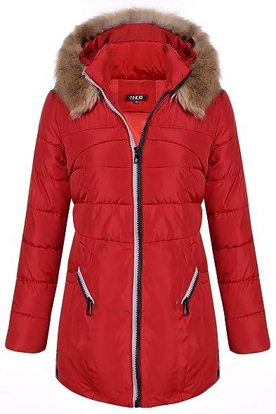Finejo Women's Winter Warm Thickened Jacket Fur Hood Long Down ...