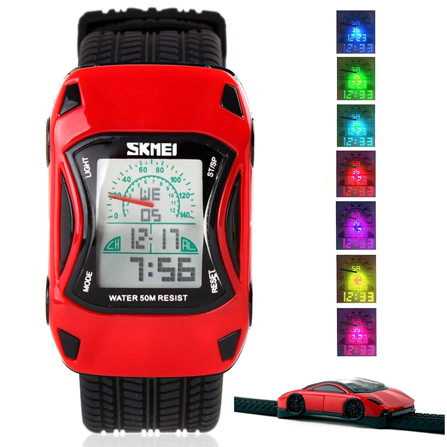 Kids Watches LED Waterproof 3D Car Silicone Children Toddler Wrist Watches Time Teacher Gift for Boys Girls Little Child Red