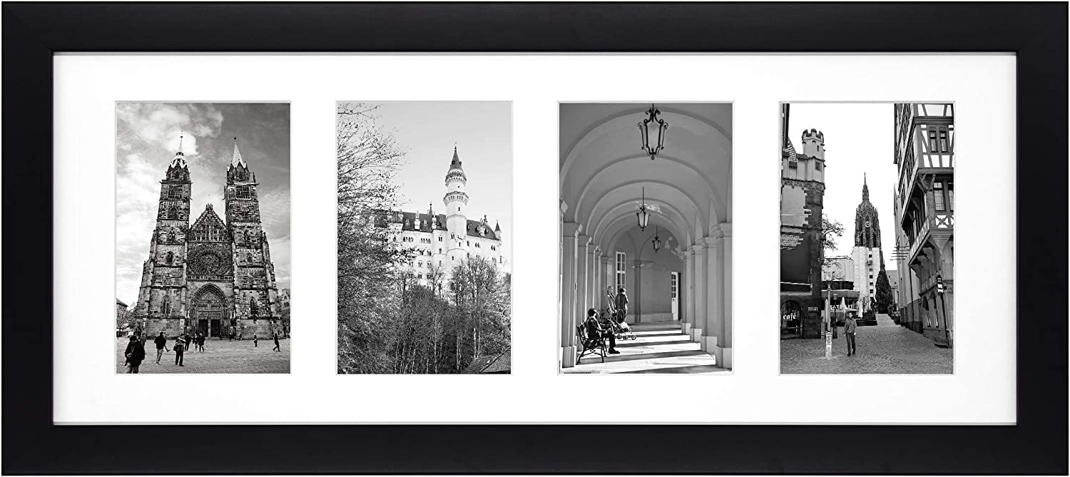 Golden State Art, 8x20 Black Photo Wood Collage Frame with Real Glass and White Mat displays (4) 4x6 Pictures