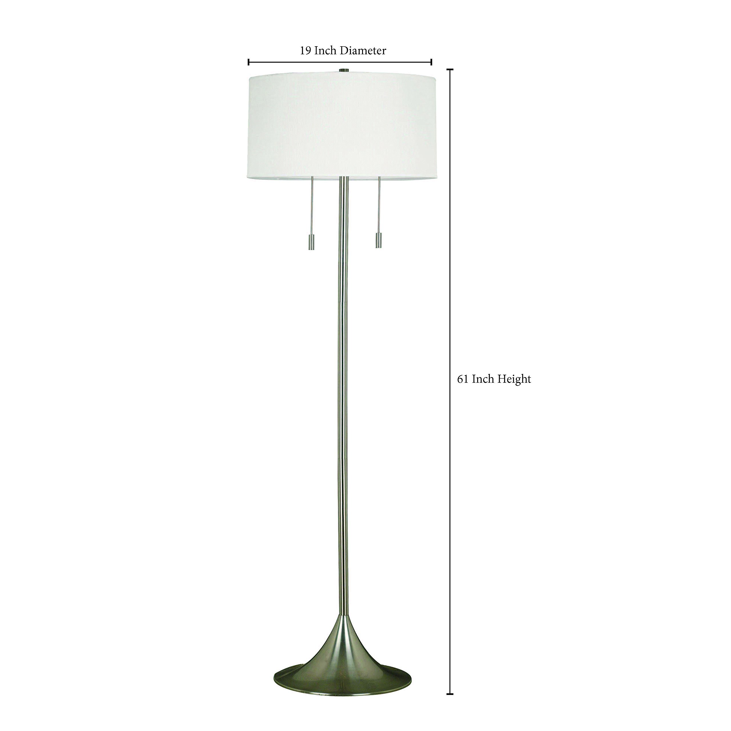 Kenroy Home 21405BS Stowe Floor Lamp In Brushed Steel Finish With A White Textured Drum Shade, 19'' x 19'' x 60''
