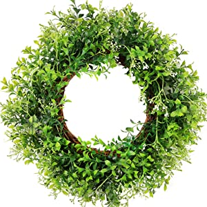 "CEWOR 15"" Artificial Boxwood Small Wreath Green Leaves Wreath for Front Door Wedding Wall Home Spring Summer Indoor Outdoor Farmhouse Decor"