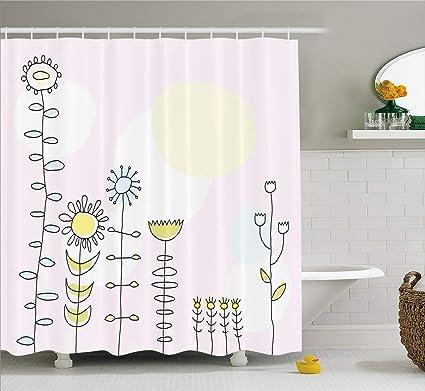 Lunarable Farm Shower Curtain Cute Sunflower Tulips Daisy Field Sun Nature Childish Cartoon Design