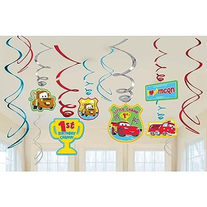 Amazoncom Cars 1st Birthday Swirl Decorations 12 Toys Games