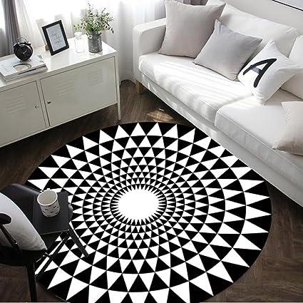 YF Carpet Moderno Semplice Tappeto Tondo Camera da Letto Soggiorno Tappeto  da tè da Tavolo Computer Area Sedia tappeti (Colore : Nero, Dimensioni : ...