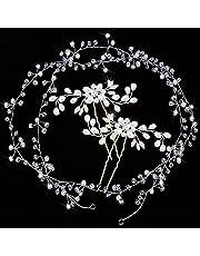 Gudotra 3packs 2pz Forcine Nuziale Sposa per Capelli+1pz Fascia Nuziale per Capelli Accessori Decorazione Capelli per Matrimonio Sposa