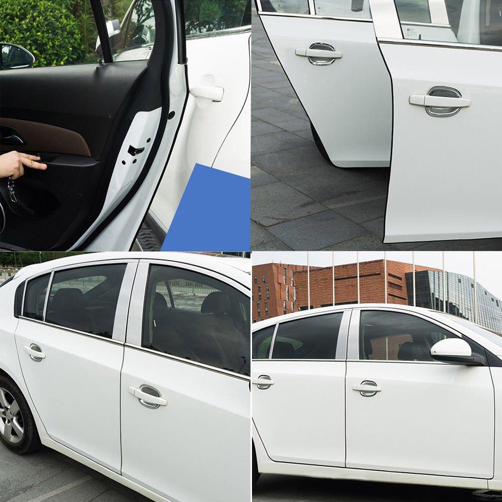 Protector Puerta Coche WINOMO 5M Tiras Decorativas para Coche Cinta Decorativa Adhesiva para Autos Blanco