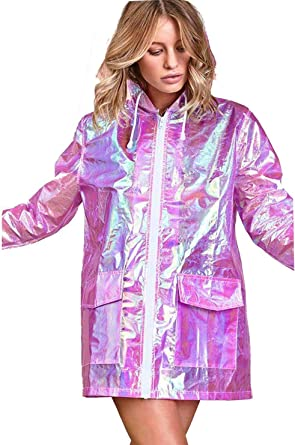 eded5189d88ca CHOCOLATE PICKLE Women s Holographic Hooded Lightweight Zipped Neon  Festival Kagool Mac Raincoat Jacket 8-24