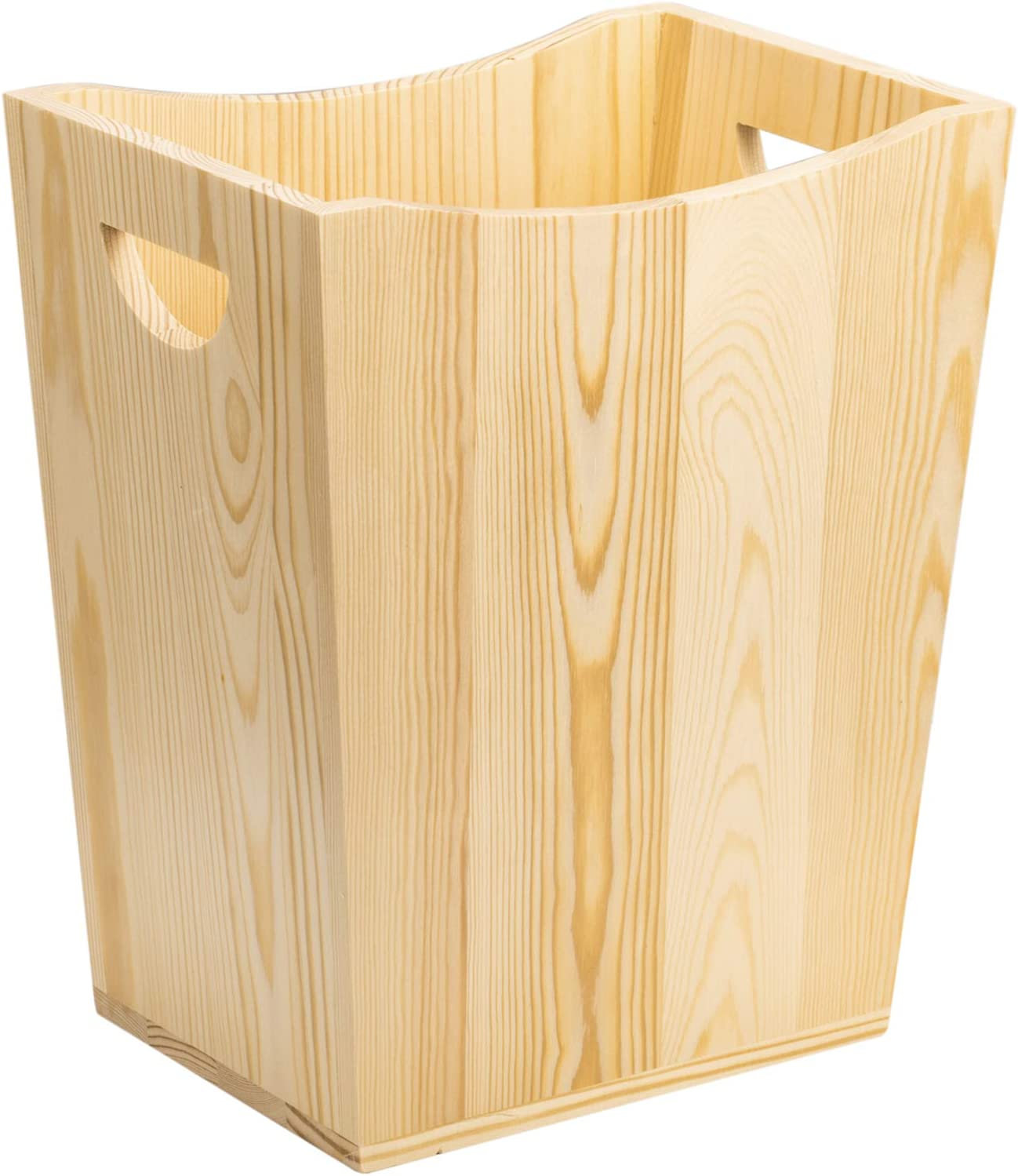 NEX Wood Trash Can, Rustic Farmhouse Style Wastebasket Bin for Bathroom, Office, Bedroom, Living Room