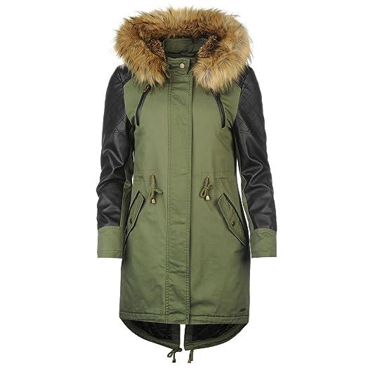 Firetrap Blackseal Polly Parka Jacket Womens Khaki Jacket Coats ...