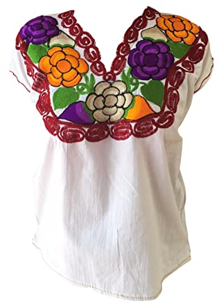 7ab768bbb68a58 Floral Mexican Zinacantan Blouse - Embroidered - Authentic - Handmade -  Cotton - White (Small