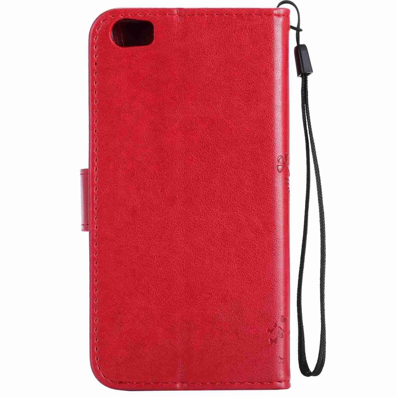 Guran® Funda de Cuero Para Xiaomi Mi5 Smartphone Función de Soporte con Ranura para Tarjetas Flip Case Cover-rojo: Amazon.es: Electrónica