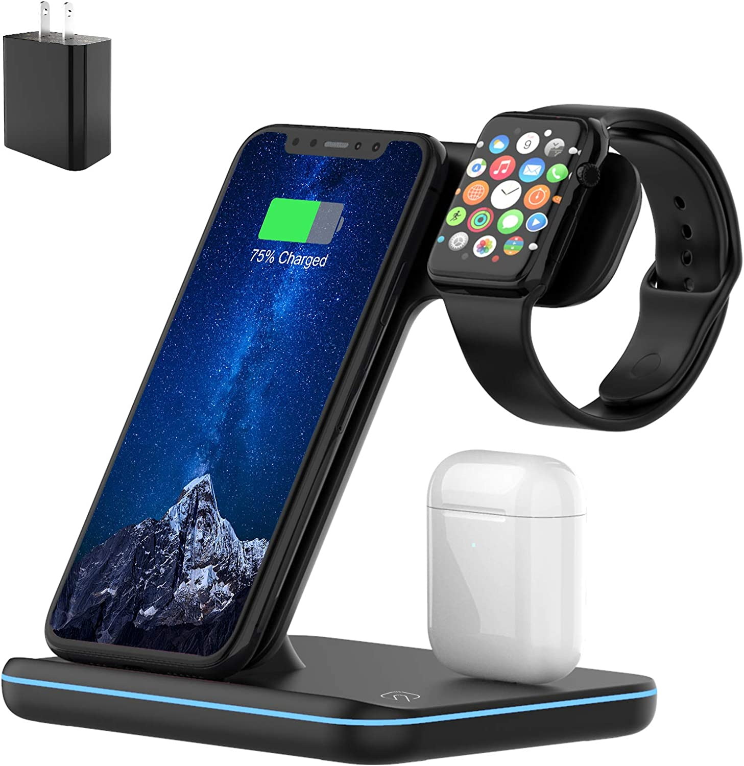 Wireless Charger, 3 in 1 Qi-Certified 15W Fast Charging Station for Apple iWatch Series 6/5/4/3/2/1,AirPods,Wireless Charging Stand for iPhone 12/11 Series/XS MAX/XR/XS/X/8/8 Plus/Samsung