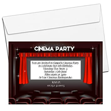 10 Personalised Boys Girls Movie Cinema Birthday Party Invitations N60