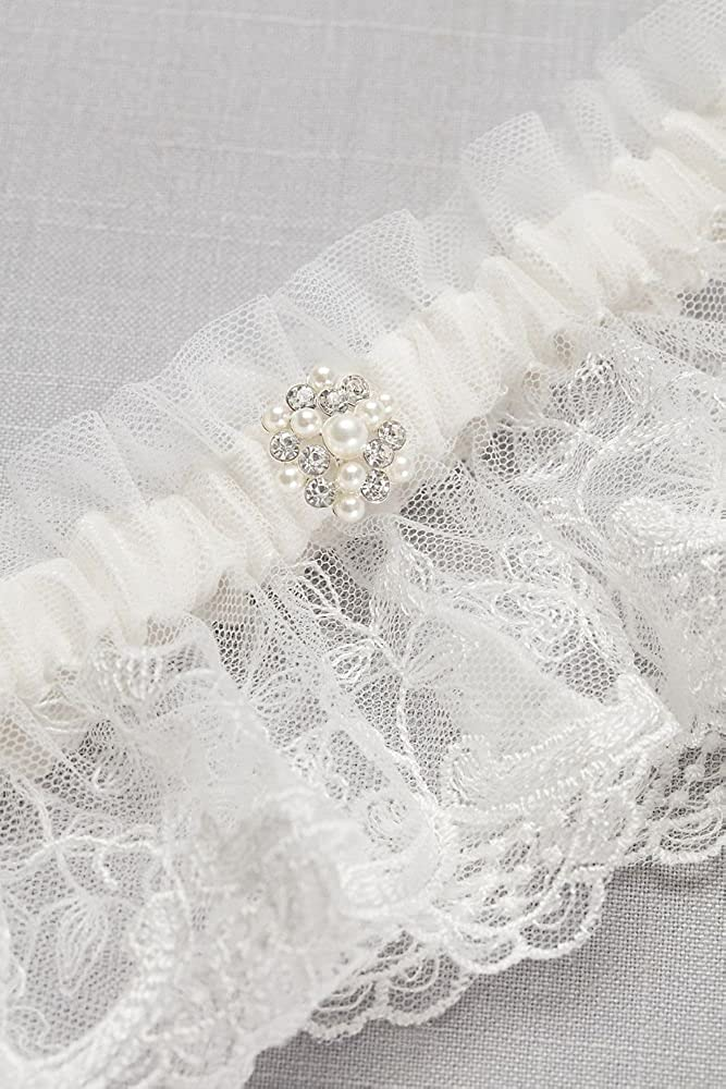 Scalloped Lace Garter with Pearl Detail Style M80046