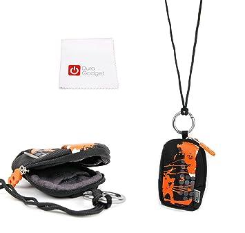 Duragadget Housse étui Orange/Noir pour Montre connectée MyKronoz Zenano, Zewatch, ZeFit Bracelet