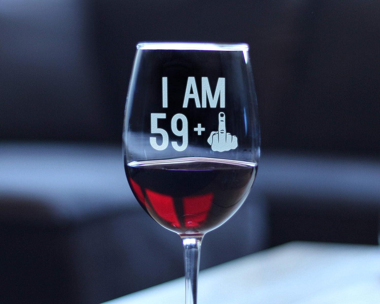 I Am 59 + 1 dedo medio, divertida copa de vino con tallo ...
