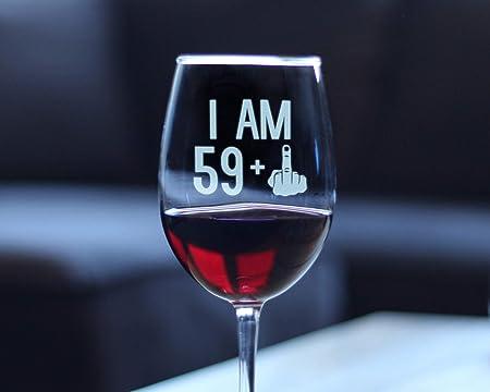 I Am 59 1 Dedo Medio Divertida Copa De Vino Con Tallo