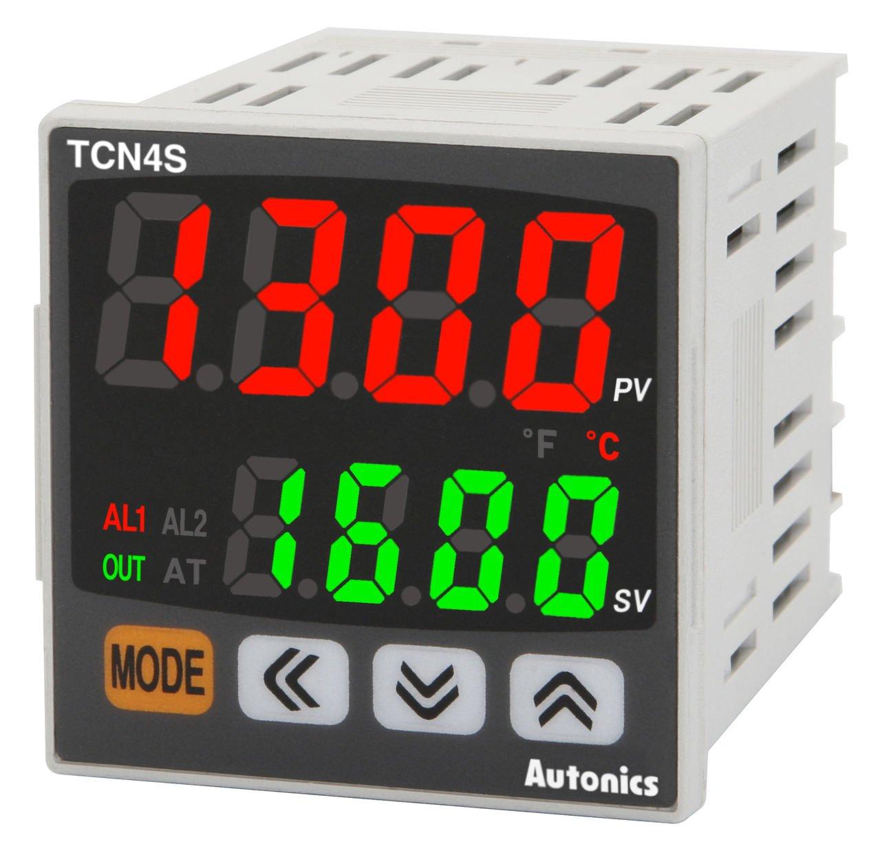 Autonics TCN4S-22R Temp Control, 1/16 DIN, Dual display 4 Digit, PID Control, Relay & SSR Output, 2 Alarm Output, 24VAC/24-48VDC